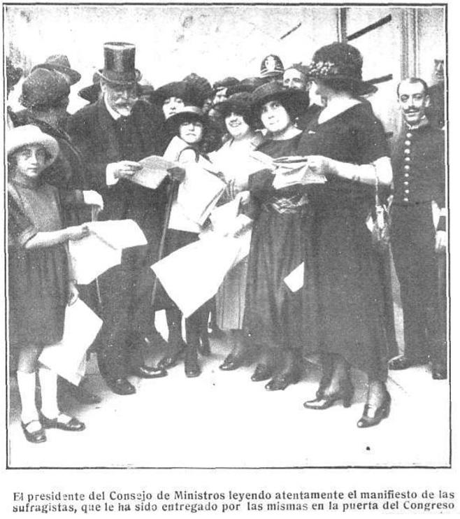 La primera manifestación sufragista de 1921
